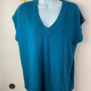 CUPIO Blush Womens Size M Dark Teal Top T-Shirt  V